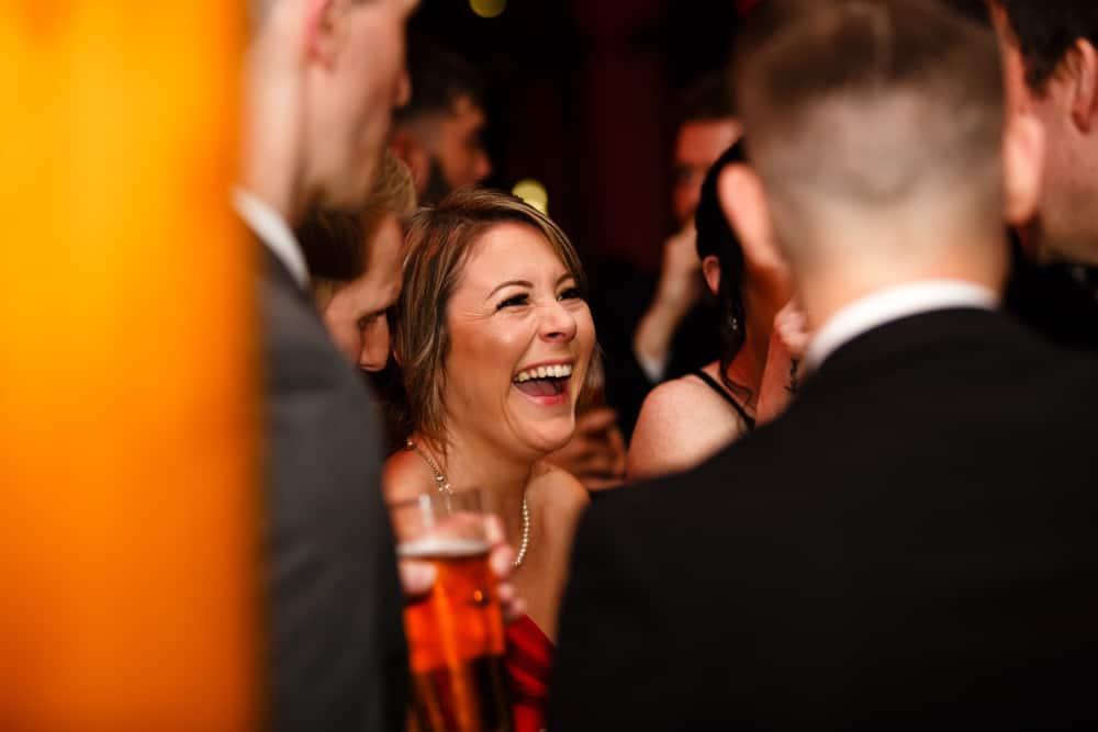 laughing at reception
