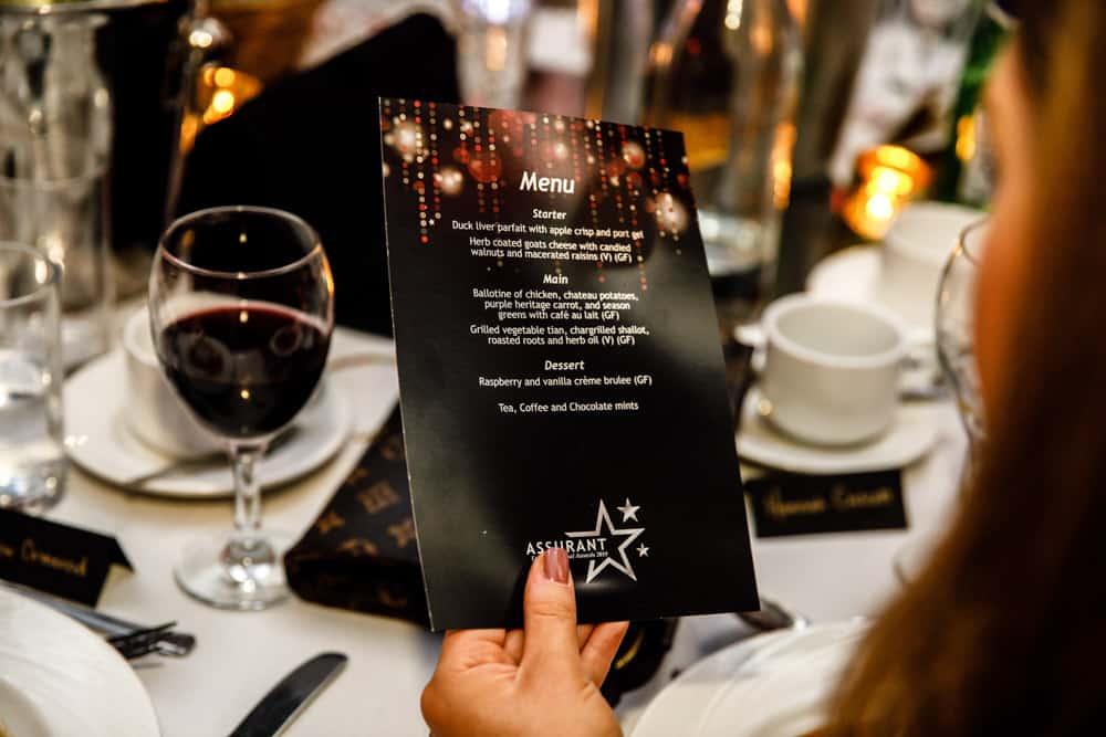 menu for awards ceremony