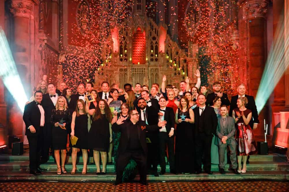 group photo of award winners at the monastery manchester event