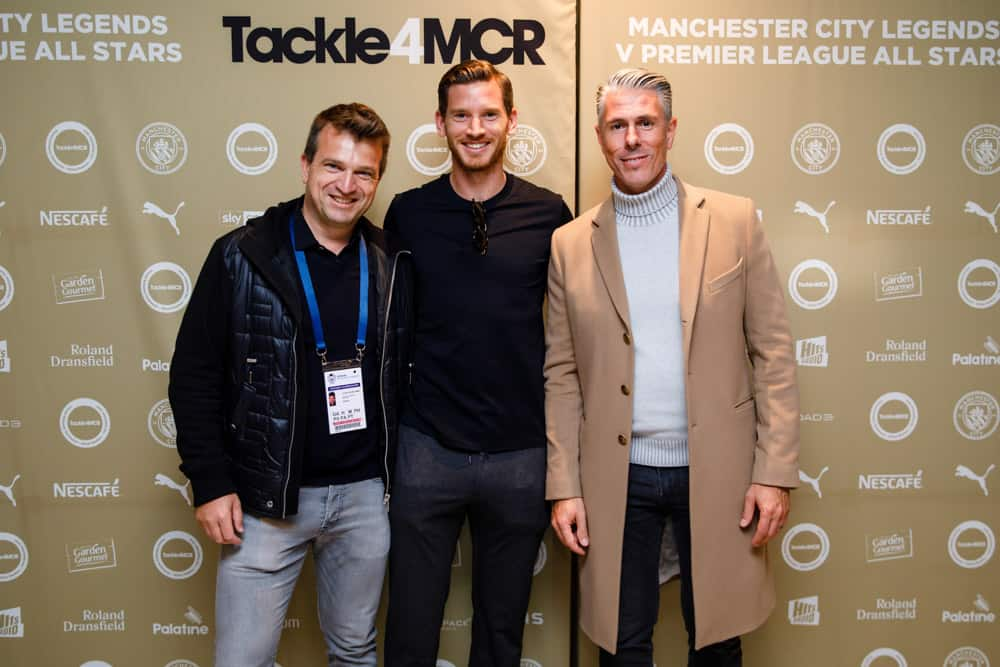 manchester city football club step and repeat photograph