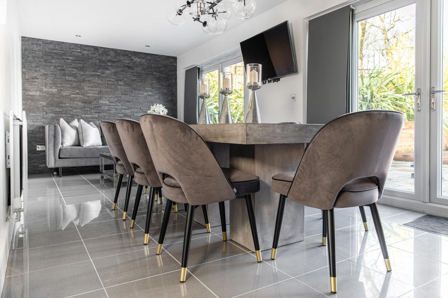 image of chairs at a dining table for interior photoshoot