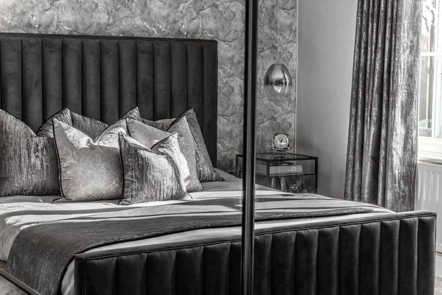 bedroom interior photography of a classic grey bedroom