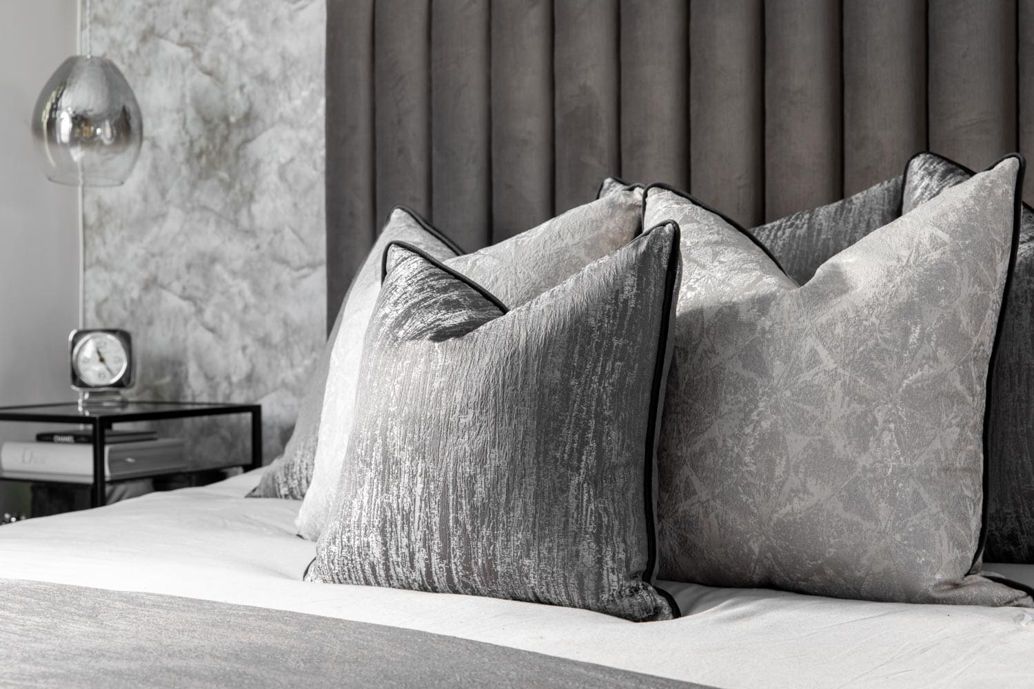cushions on a bed for an interior photoshoots