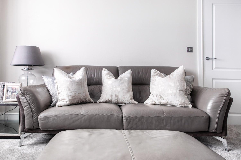 cushions on a sofa for interior photoshoot