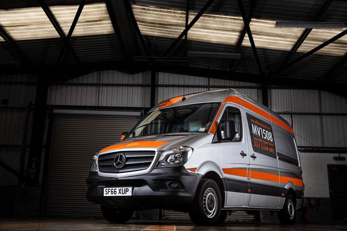 Commercial Photographer Manchester photo of company van in warehouse