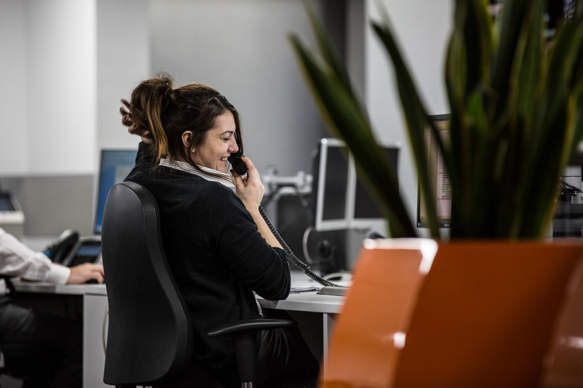 Commercial Photographer Manchester photo of staff member on live call