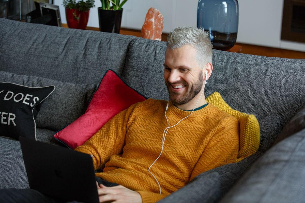 adam at home during his pr branding photoshoot