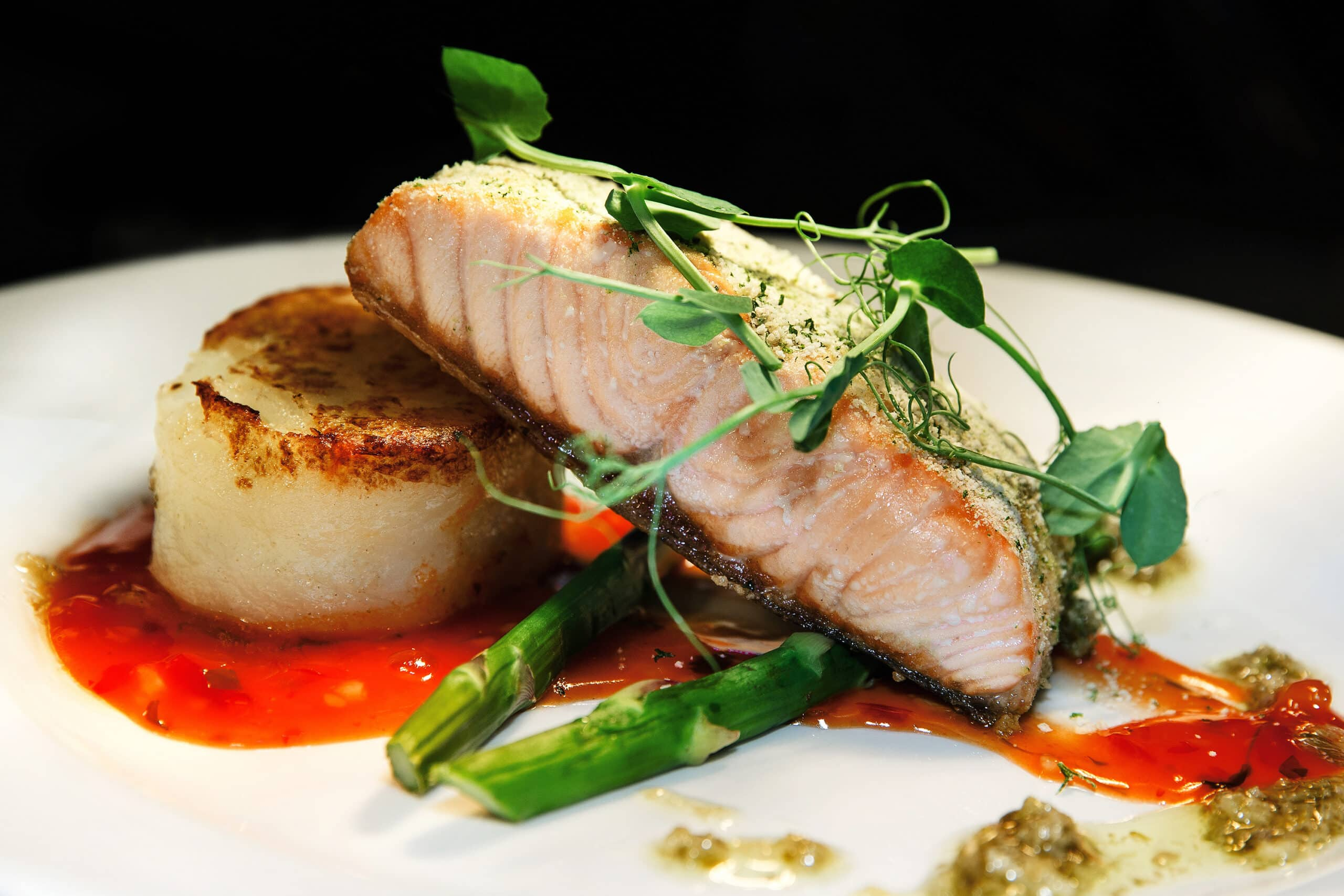Food photographer based in manchester picture of a professional samon dish